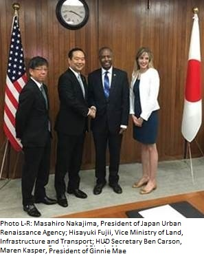 ID's on the photo are L-R;  Masahiro Nakajima, President of Japan Urban Renaissance Agency; Hisayuki Fujii, Vice Minister of Ministry of Land, Infrastructure and Transport; HUD Secretary Ben Carson; Maren Kasper, Acting President of Ginnie Mae